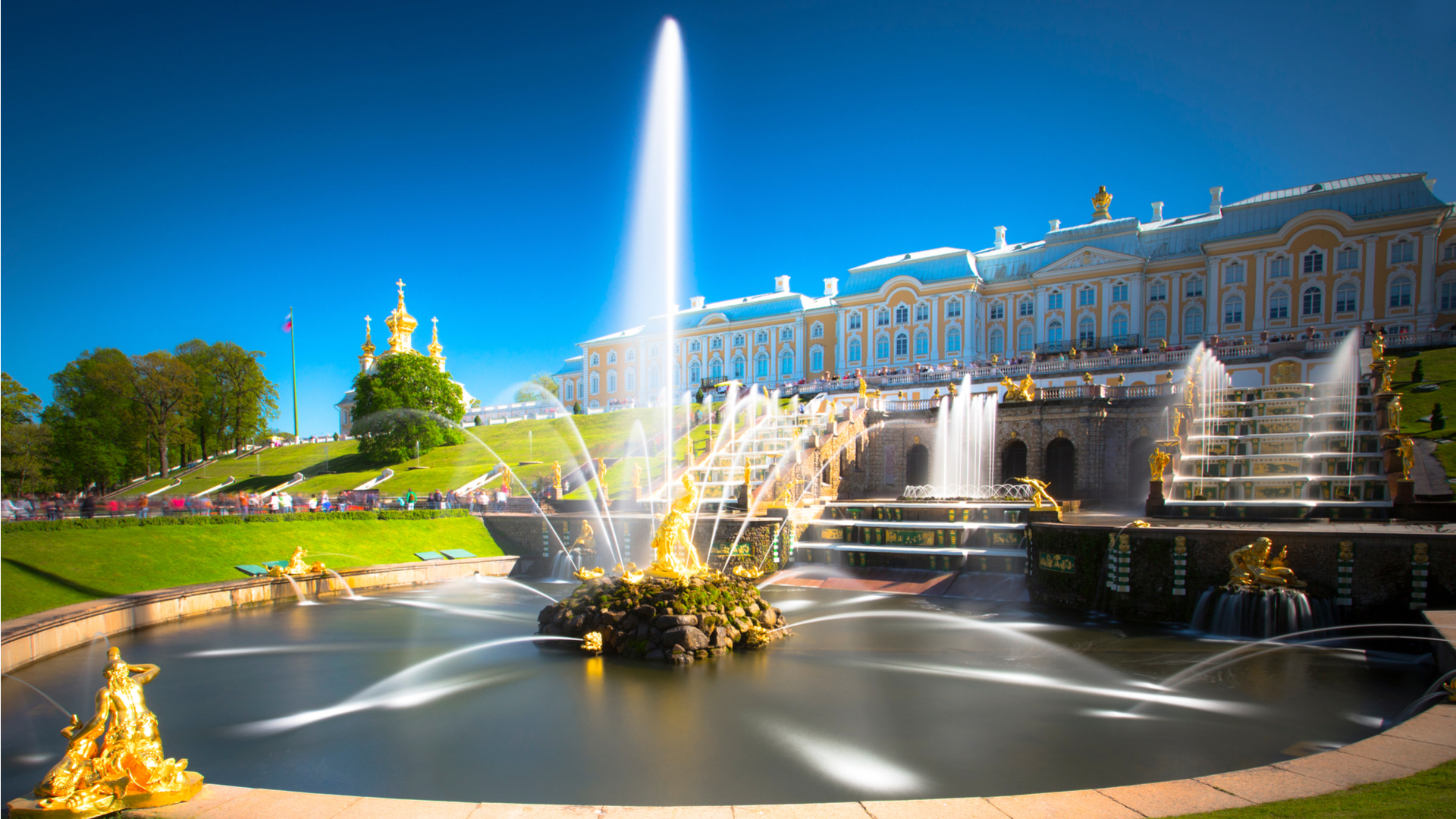 Fountain, chateau, blue sky