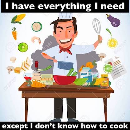 smart chef character cooking behind kitchen table with various o